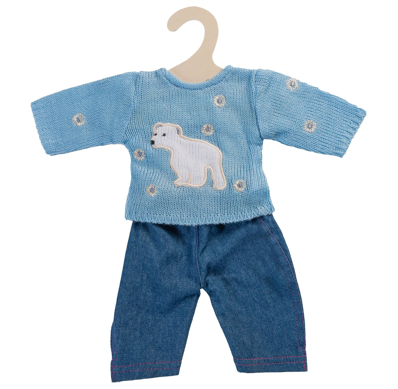 HELESS® Heless® Puppenkleidung Größe 28-33 cm, »Pullover blau mit Jeans« (2tlg.)