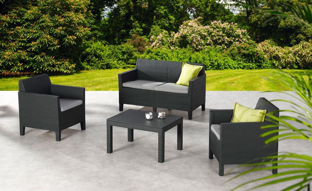 8-tgl. Loungeset »Chicago«, 2er Sofa, 2 Sessel, Tisch 78x59 cm, Kunststoff, anthrazit