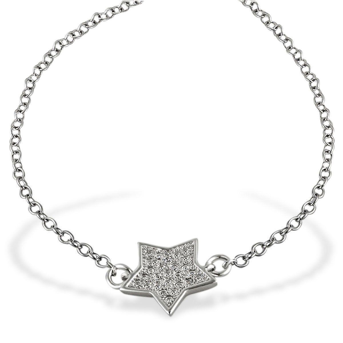 AVERDIN Averdin Armband Stern 925 Sterlingsilber 26 weiße Zirkonia 19,5 cm
