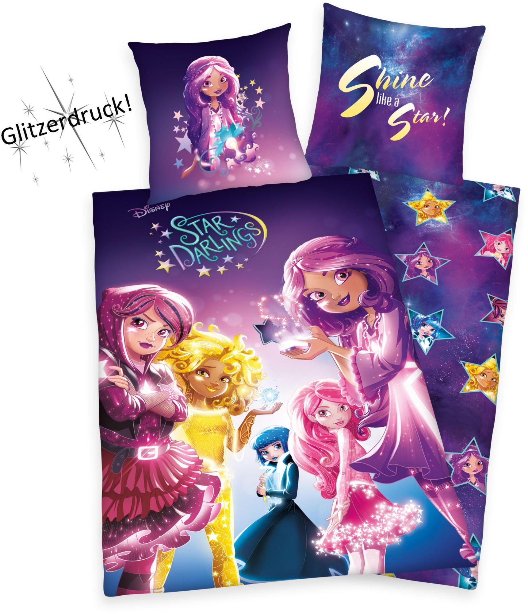 DISNEY Kinderbettwäsche, Disney, »Star Darlings«, Glitzerdruck