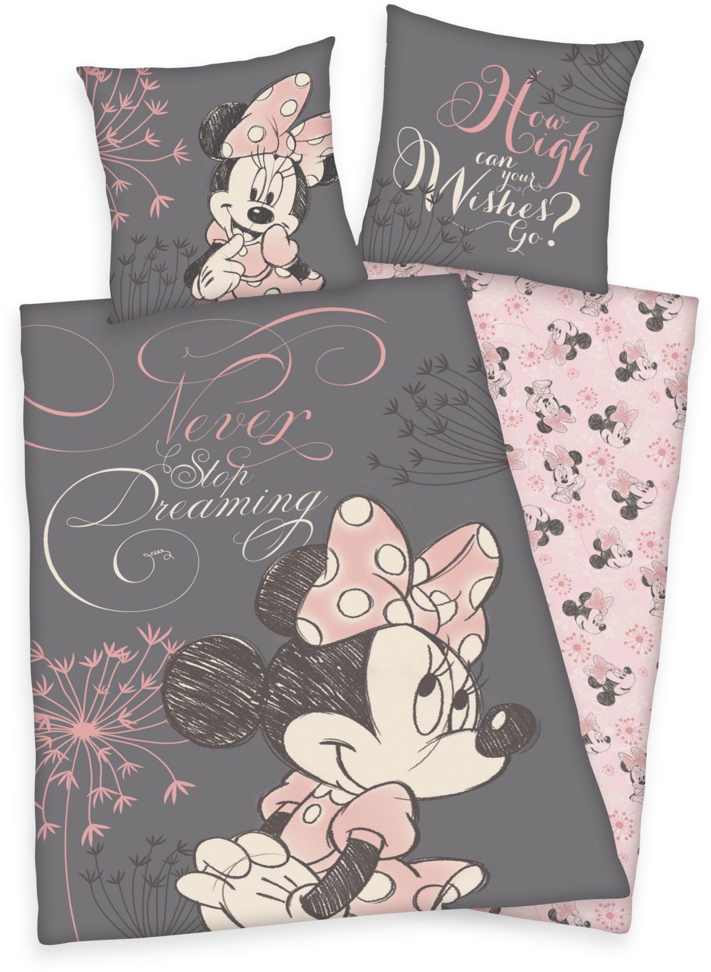 DISNEY Kinderbettwäsche, Disney, »Minnie Mouse«, mit Porträt