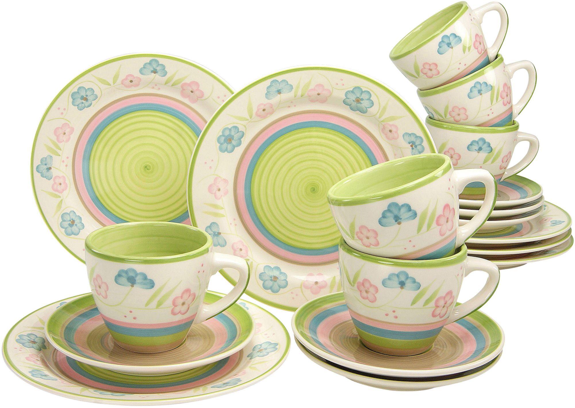 CREATABLE CreaTable Kaffeeservice, Steingut, 18 Teile, »Flower Serenade Pastell«