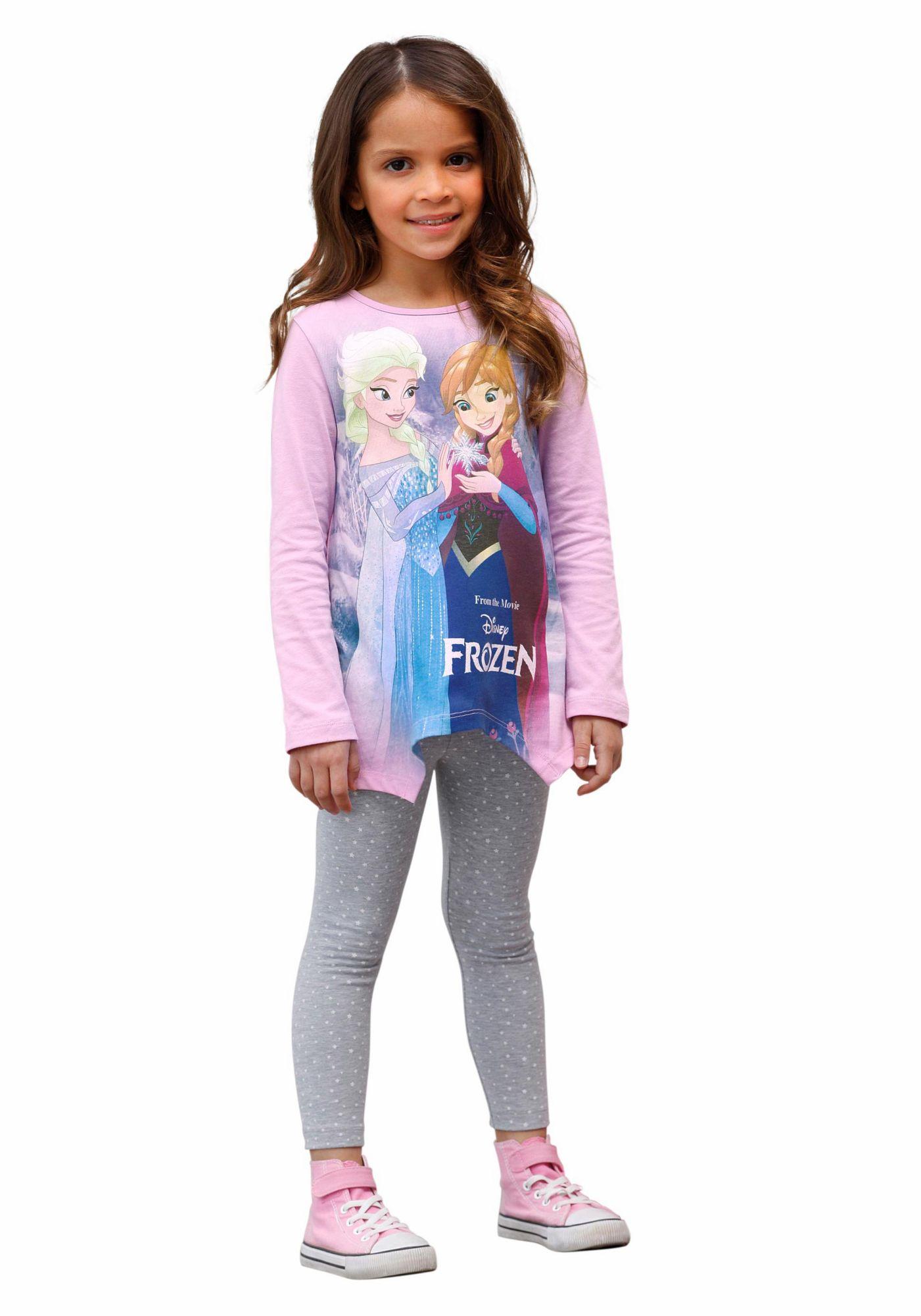 DISNEY FROZEN Disney Frozen Langarmshirt & Leggings (Set, 2 tlg.)