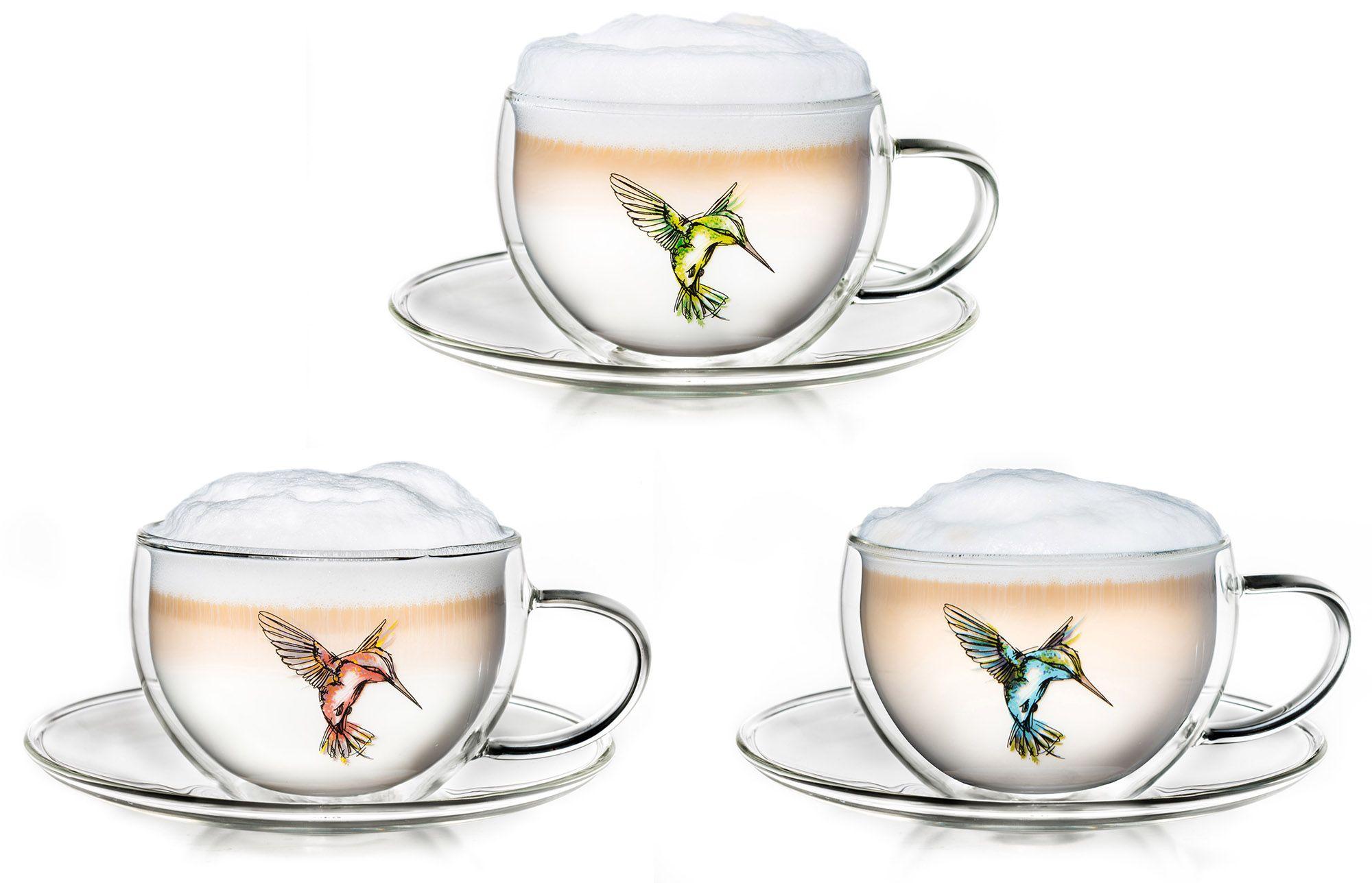 CREANO Creano Thermo-Tasse, 3-er Set, doppelwandige Tee-Tasse, Latte Macchiato Tasse, »Hummi«