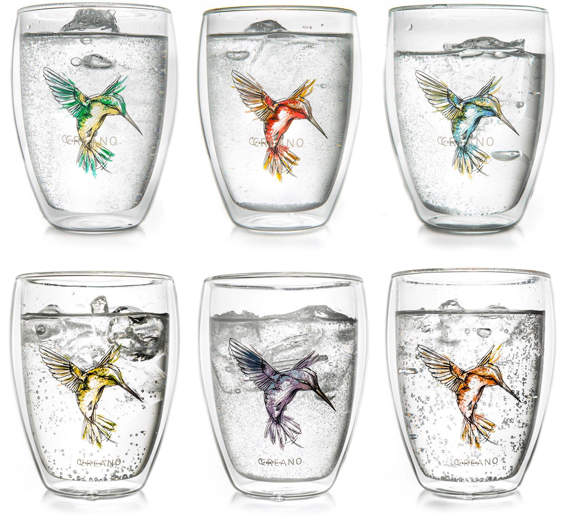 CREANO Creano Thermo-Glas, 6-er Set, doppelwandiges Tee-Glas, Latte Macchiato Glas, »Hummi«