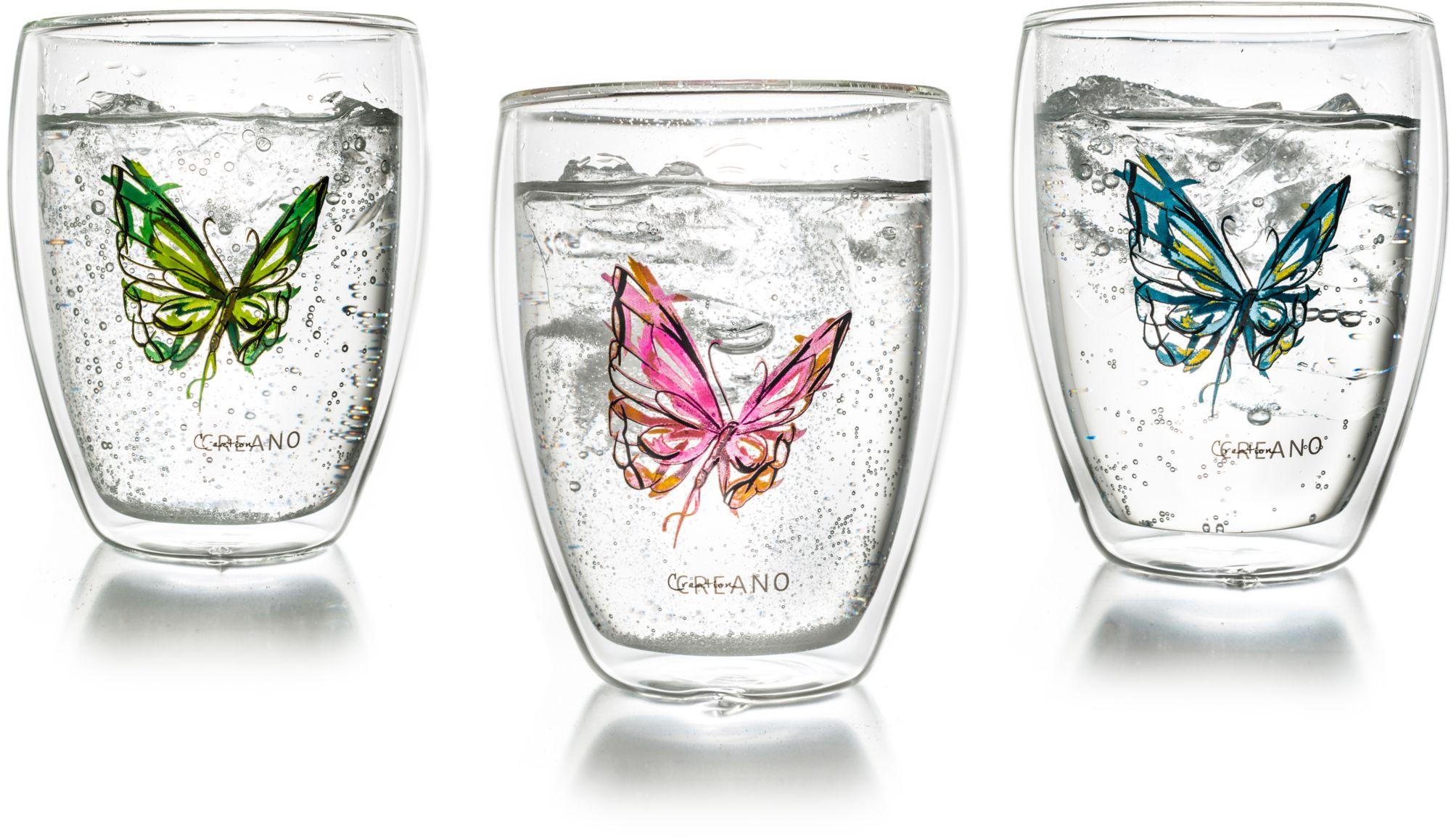 CREANO Creano Thermo-Glas, 3-er Set, doppelwandiges Tee-Glas, Latte Macchiato Glas, »Colourfly«
