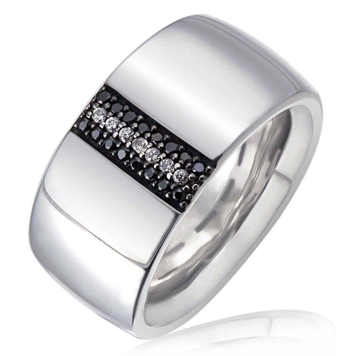 AVERDIN Averdin Damenring 925/- Sterlingsilber 7 weiße 16 schwarze Zirkonia