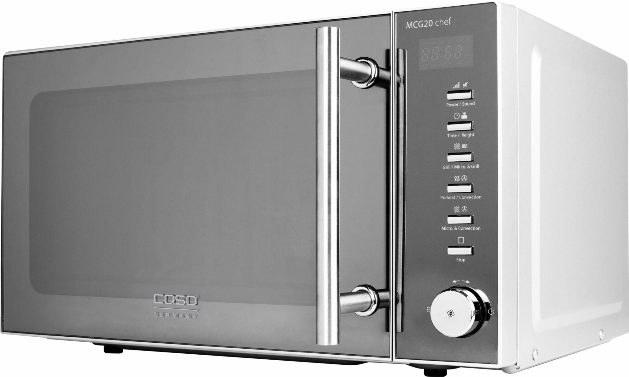 CASO DESIGN CASO Design Mikrowelle CASO MCG20 chef Design, mit Grill und Heißluft, 20 Liter Garraum, 800 Watt