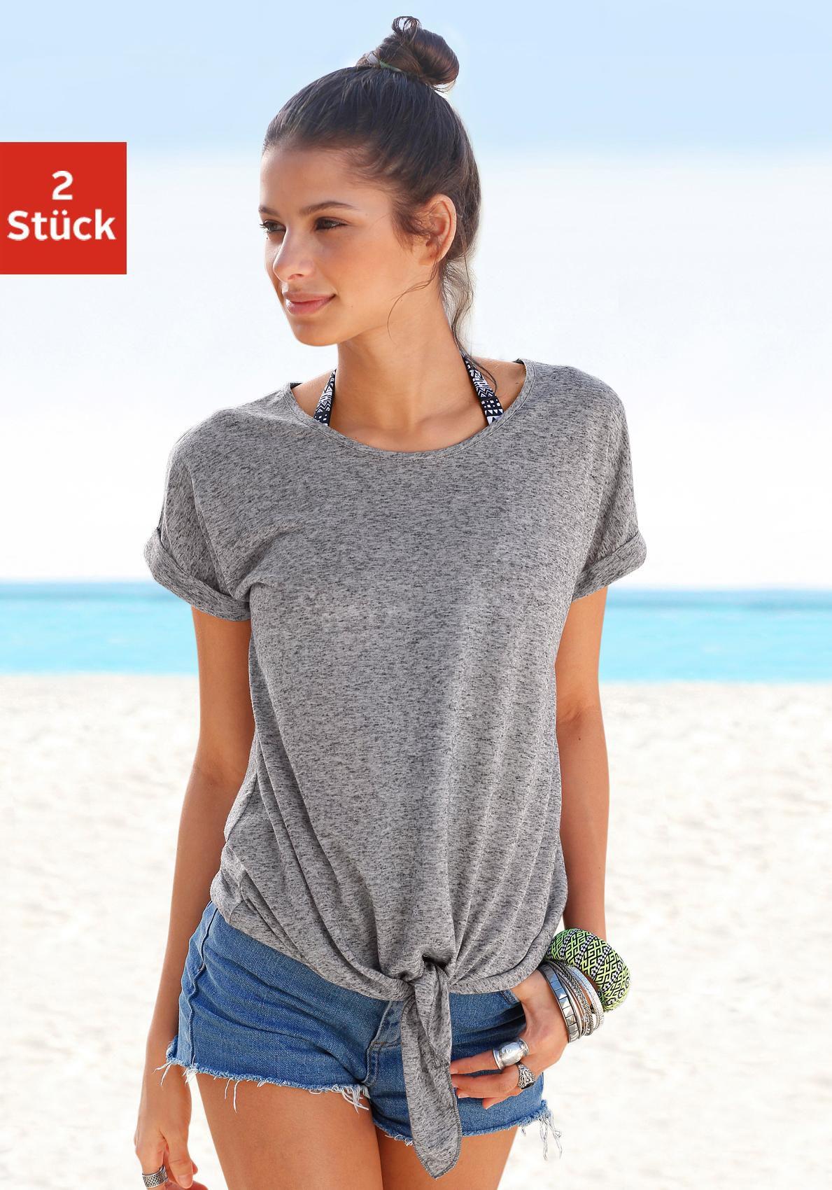 BEACHTIME Beachtime T-Shirts mit Leinen, am Saum zum knoten (2 Stück)