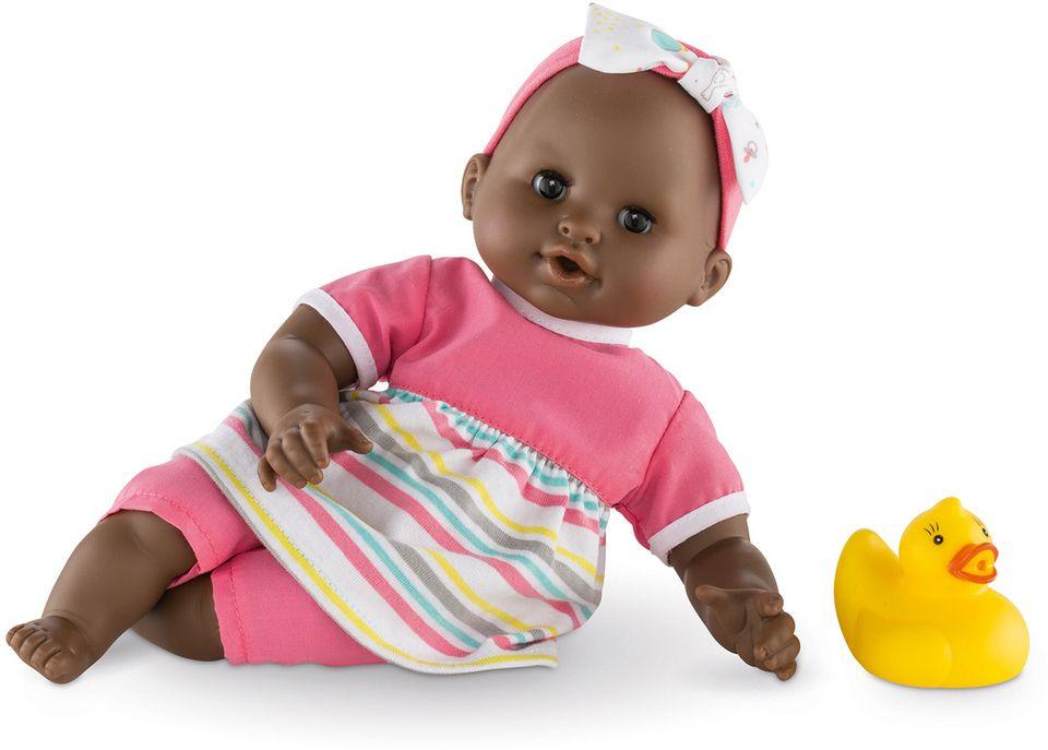 COROLLE Corolle Babypuppe mit gelber Quietscheente, »Badepuppe Mädchen dunkelhäutig 30cm«