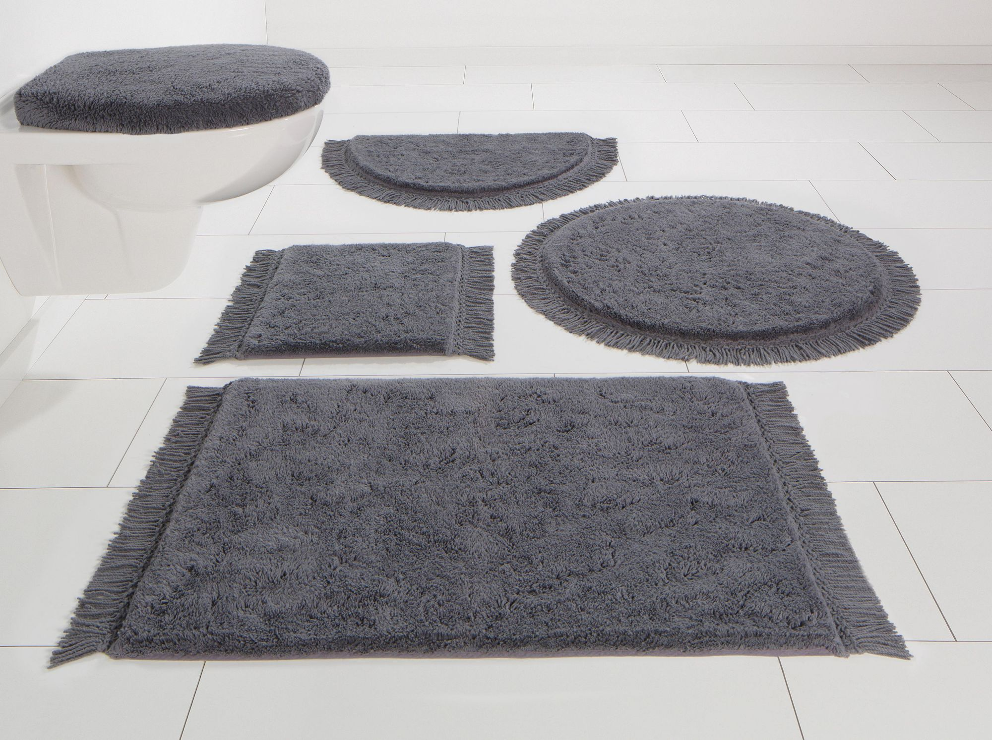HOME AFFAIRE COLLECTION Badematte, 3-tlg. Stand WC-Set, Home affaire Collection, »Finca«, Bio-Baumwolle, Höhe 16 mm