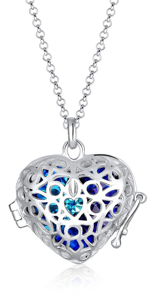 ELLI Elli Kette mit Anhänger mit Swarovski® Kristall, »Medaillon Herz, 0103291816«
