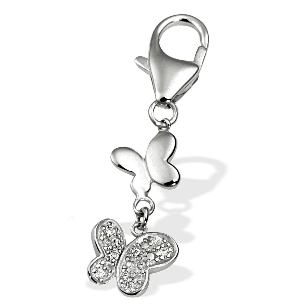 AVERDIN Averdin Charm Silber 925/- zwei Schmetterlinge  8 Zirkonia