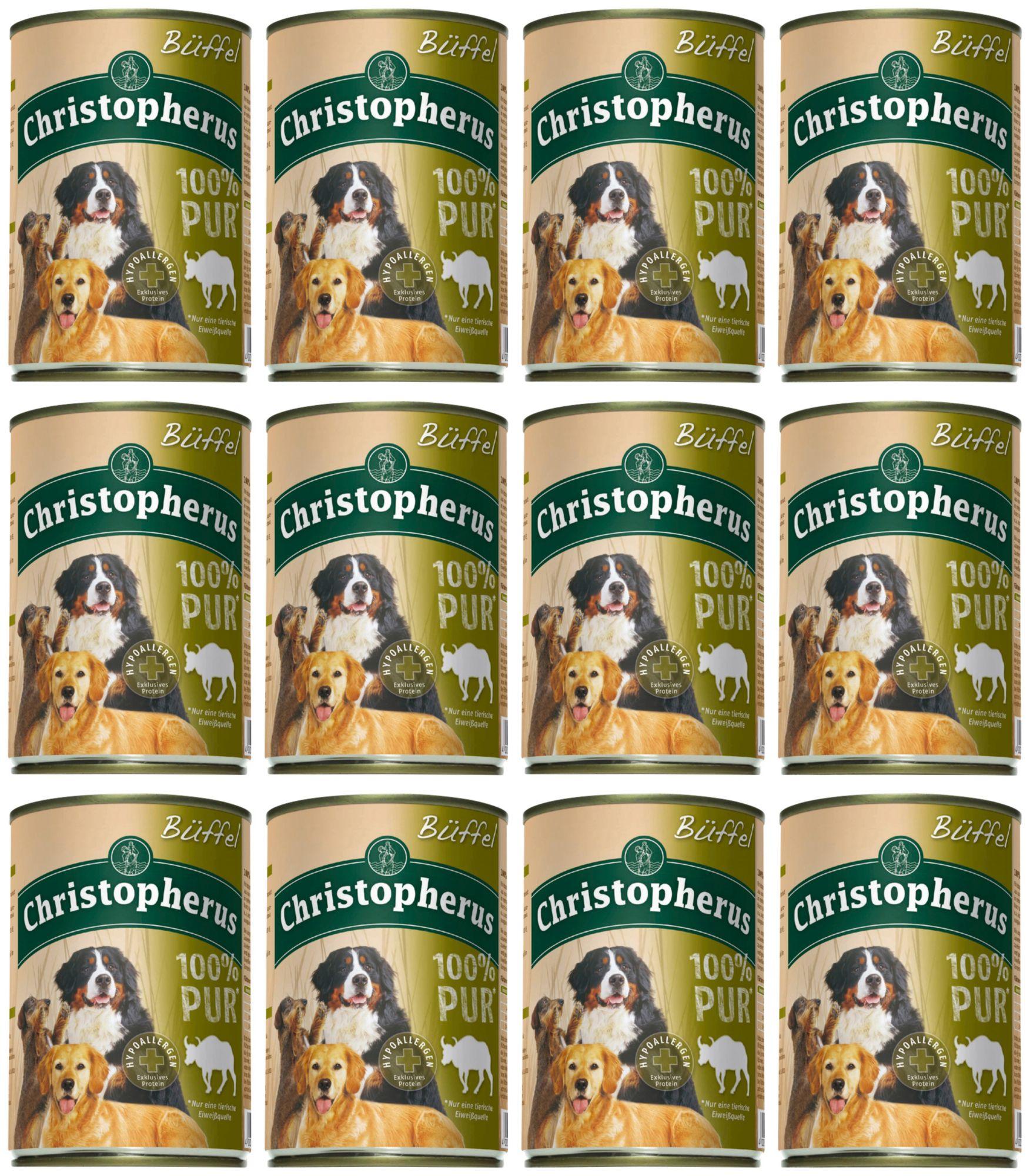 CHRISTOPHERUS Hundenassfutter »100% PUR Büffel«, 12 Dosen á 400 g