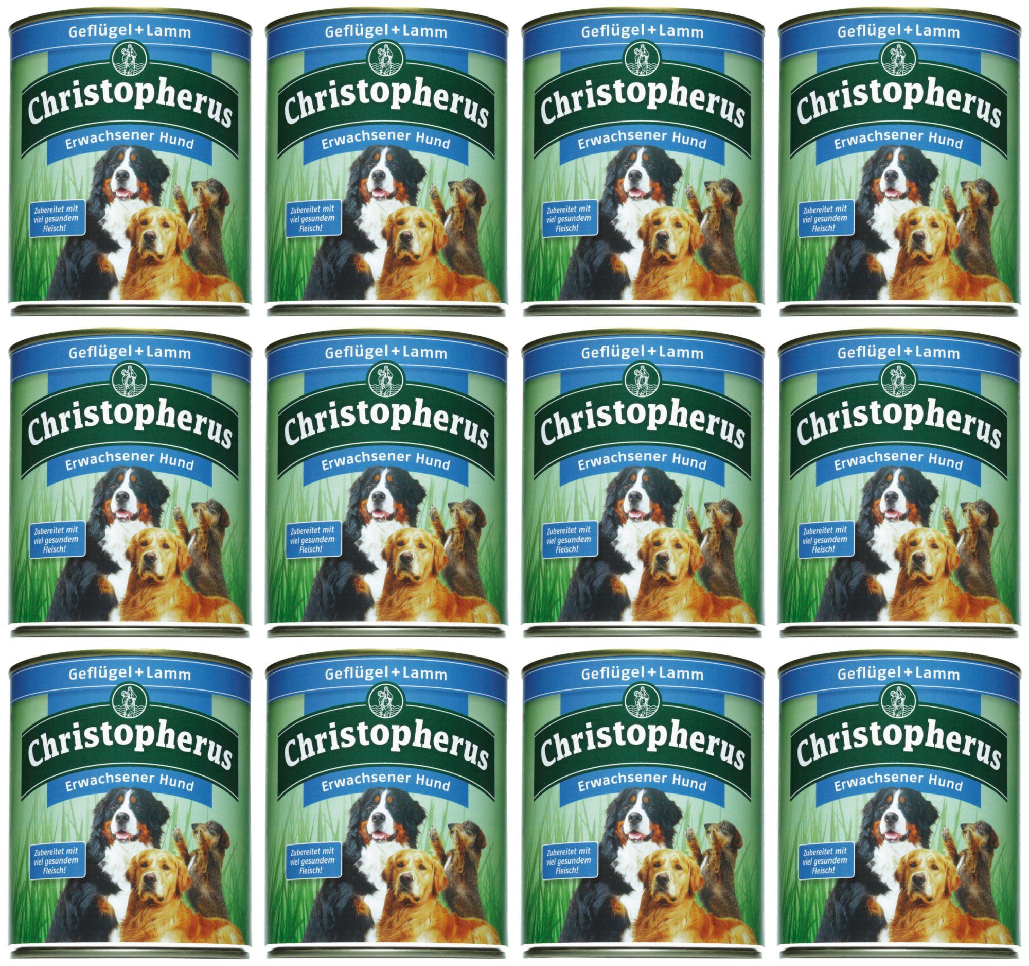 CHRISTOPHERUS Hundenassfutter »Erwachsener Hund Geflügel+Lamm«, 12 Dosen á 400 g oder 12 Dosen á 800 g