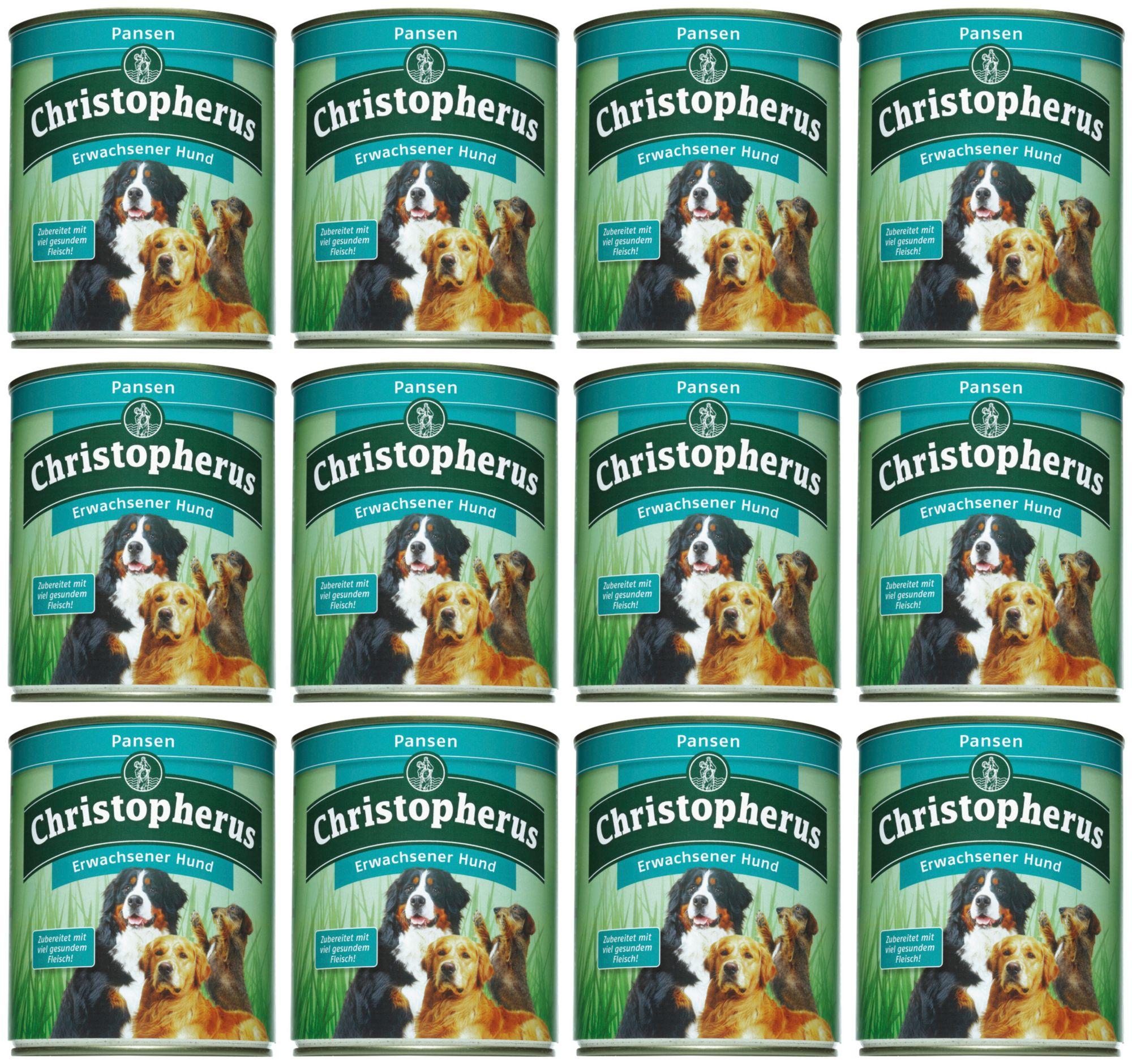 CHRISTOPHERUS Hundenassfutter »Erwachsener Hund Pansen«, 12 Dosen á 800 g