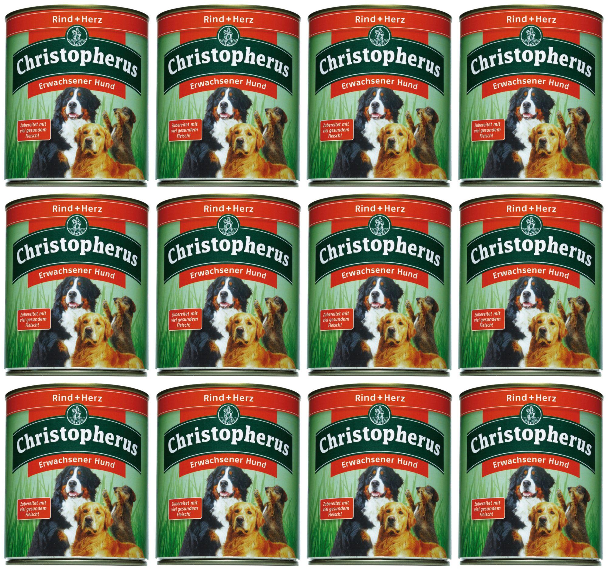 CHRISTOPHERUS Hundenassfutter »Erwachsener Hund Rind+Herz«, 12 Dosen á 800 g