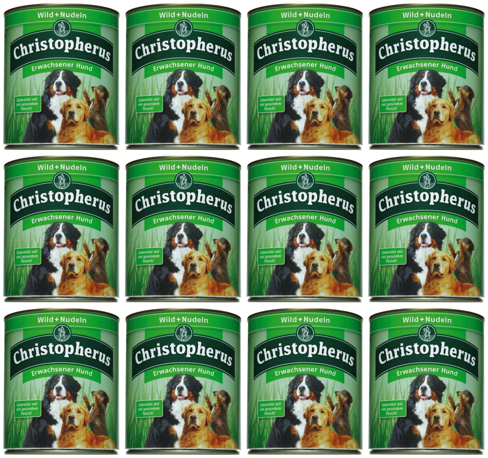 CHRISTOPHERUS Hundenassfutter »Erwachsener Hund Wild+Nudeln«, 12 Dosen á 400 g oder 12 Dosen á 800 g