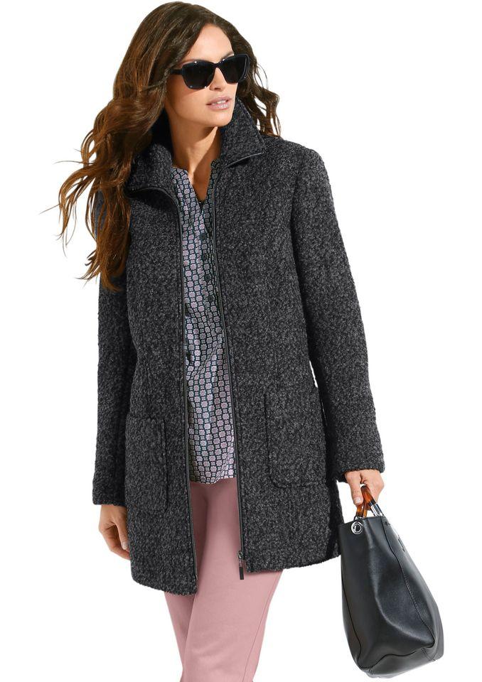 CLASSIC INSPIRATIONEN Classic Inspirationen Bouclé-Jacke in hochwertiger Qualität mit Woll-Anteil