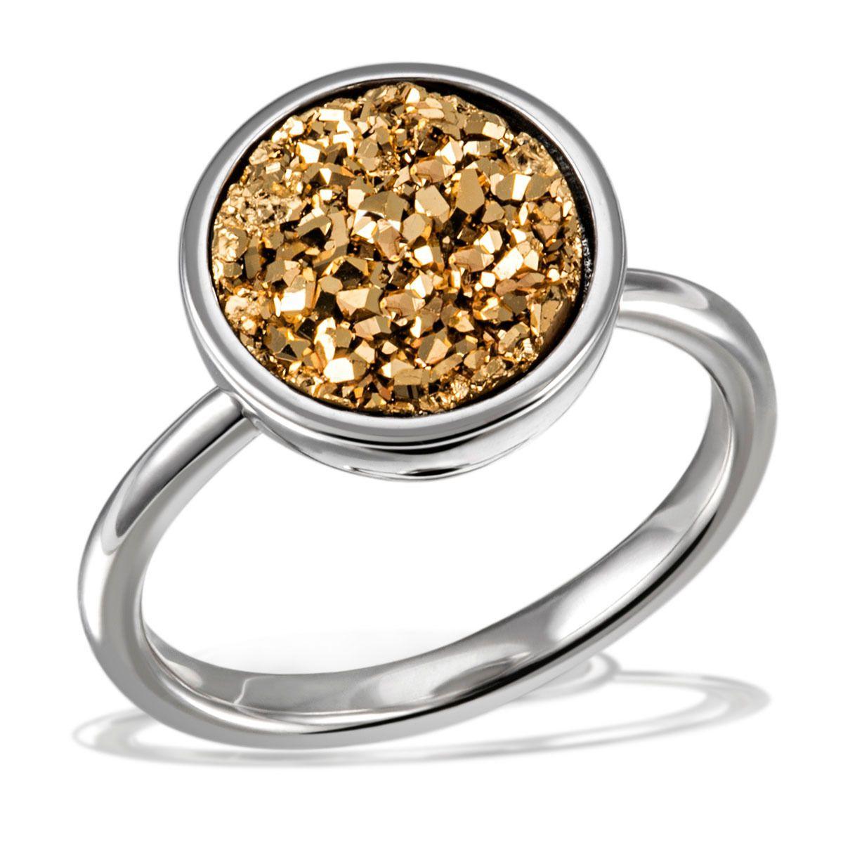AVERDIN Averdin Damenring 925/- Sterlingsilber 1 gelbes Drusen Mineral