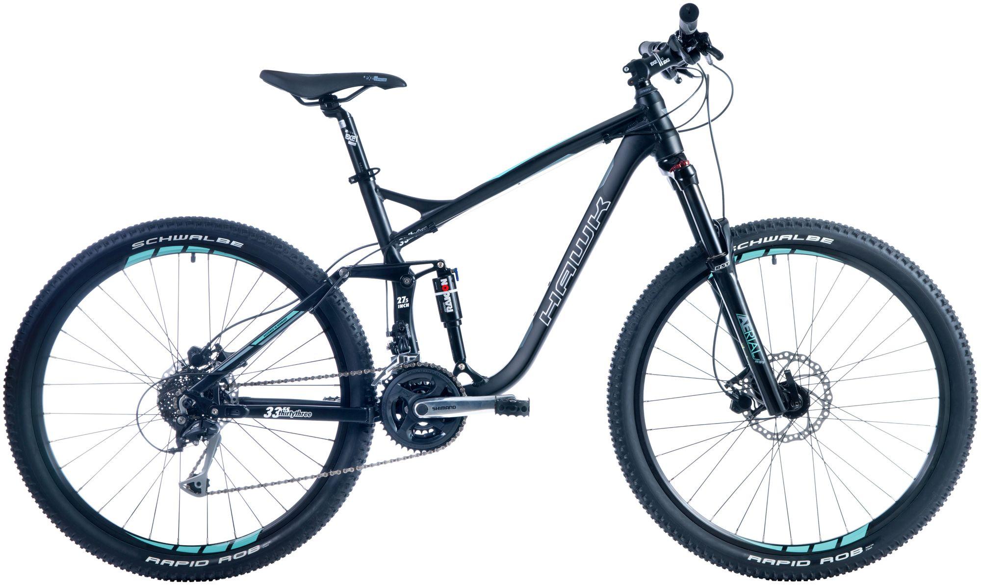 HAWK Hawk Mountainbike »Thirtythree FS«, RH 46, 27,5 Zoll, 24 Gang, Hydraulische Scheibenbremsen