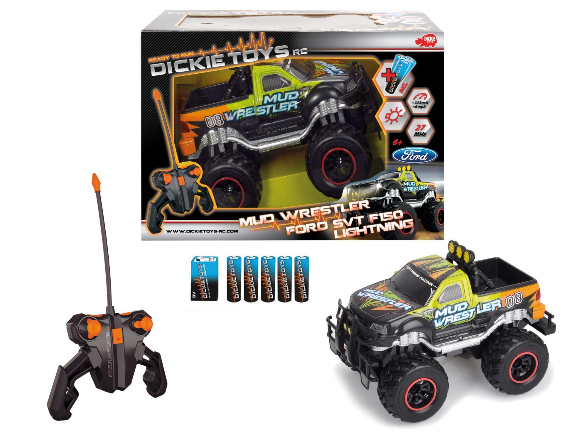 DICKIE TOYS Dickie Toys RC Komplett Set mit Licht, »Monstertruck RC Ford F150 Mud Wrestler 27 MHz 1:16«