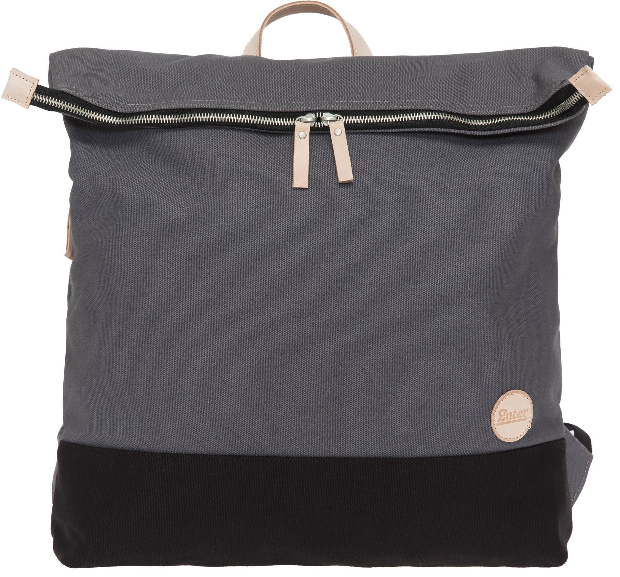 ENTER Enter Rucksack, »Top Zip Backpack, Grey/Black Base/Natural Leather«