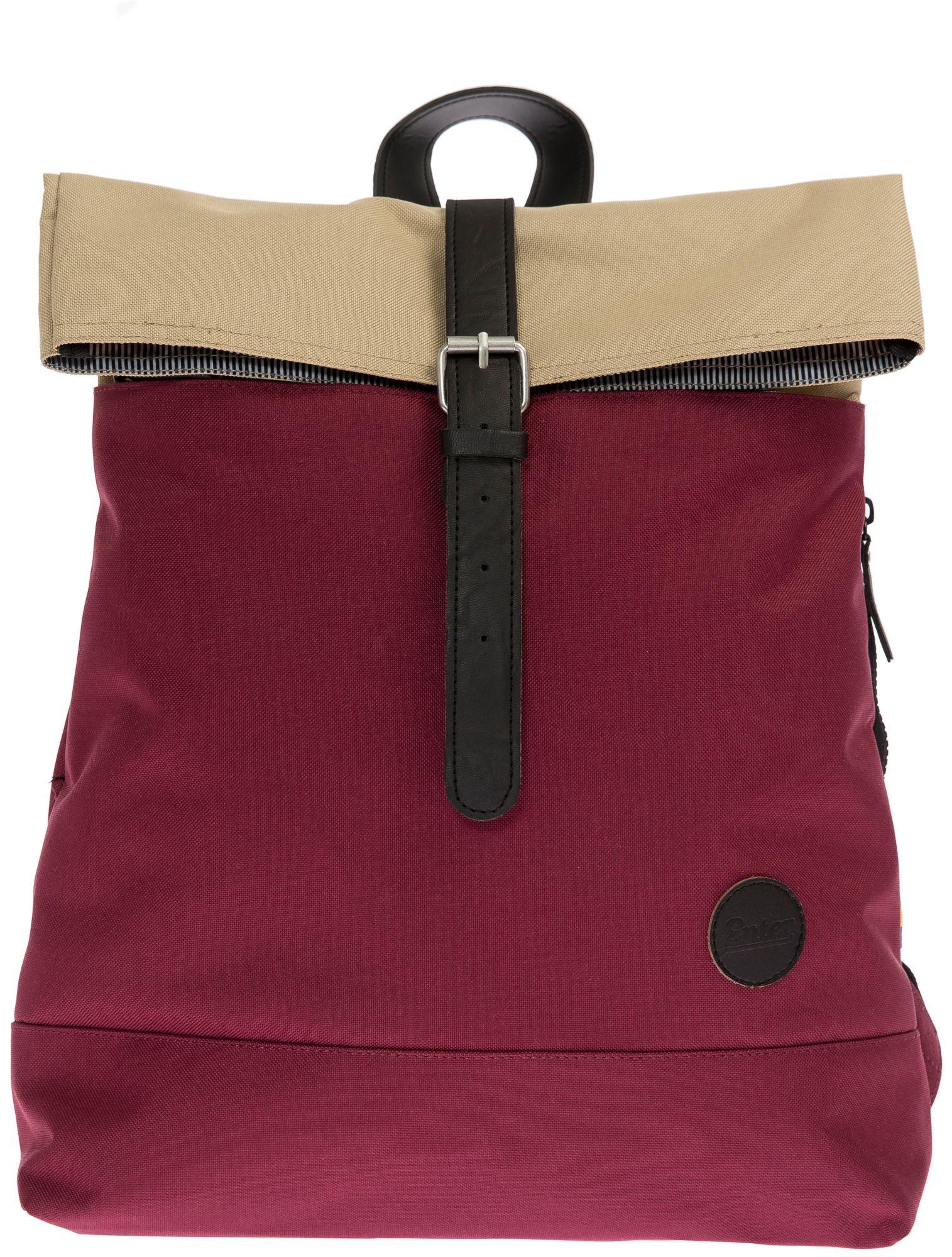 ENTER Enter Rucksack, »Fold Top Backpack, Whine Red/Khaki Top«