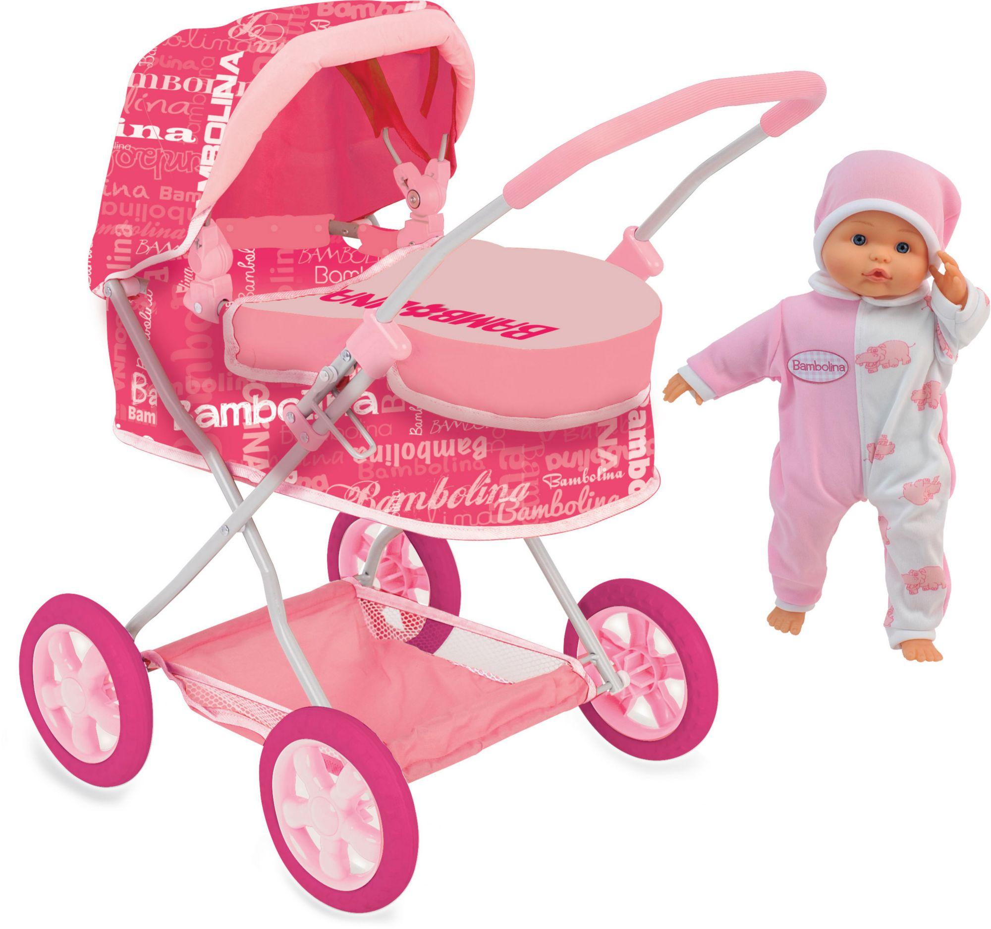 DIMIAN Dimian Puppenwagen Set, »Bambolina Puppenwagen mit 36 cm großer Weichpuppe«