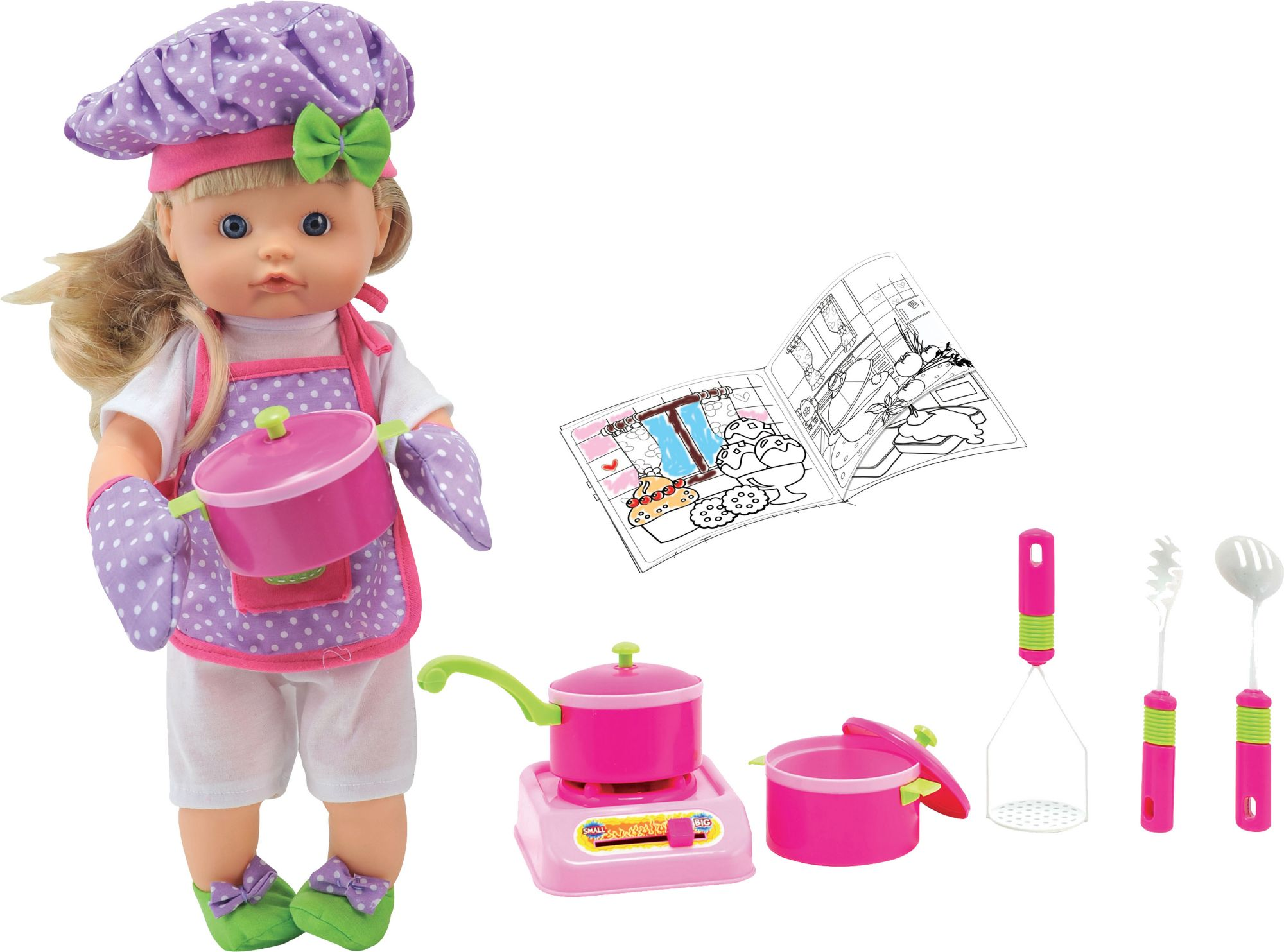 DIMIAN Dimian Puppe mit Funktion, »Nena Chef mit Kochaccessoires«