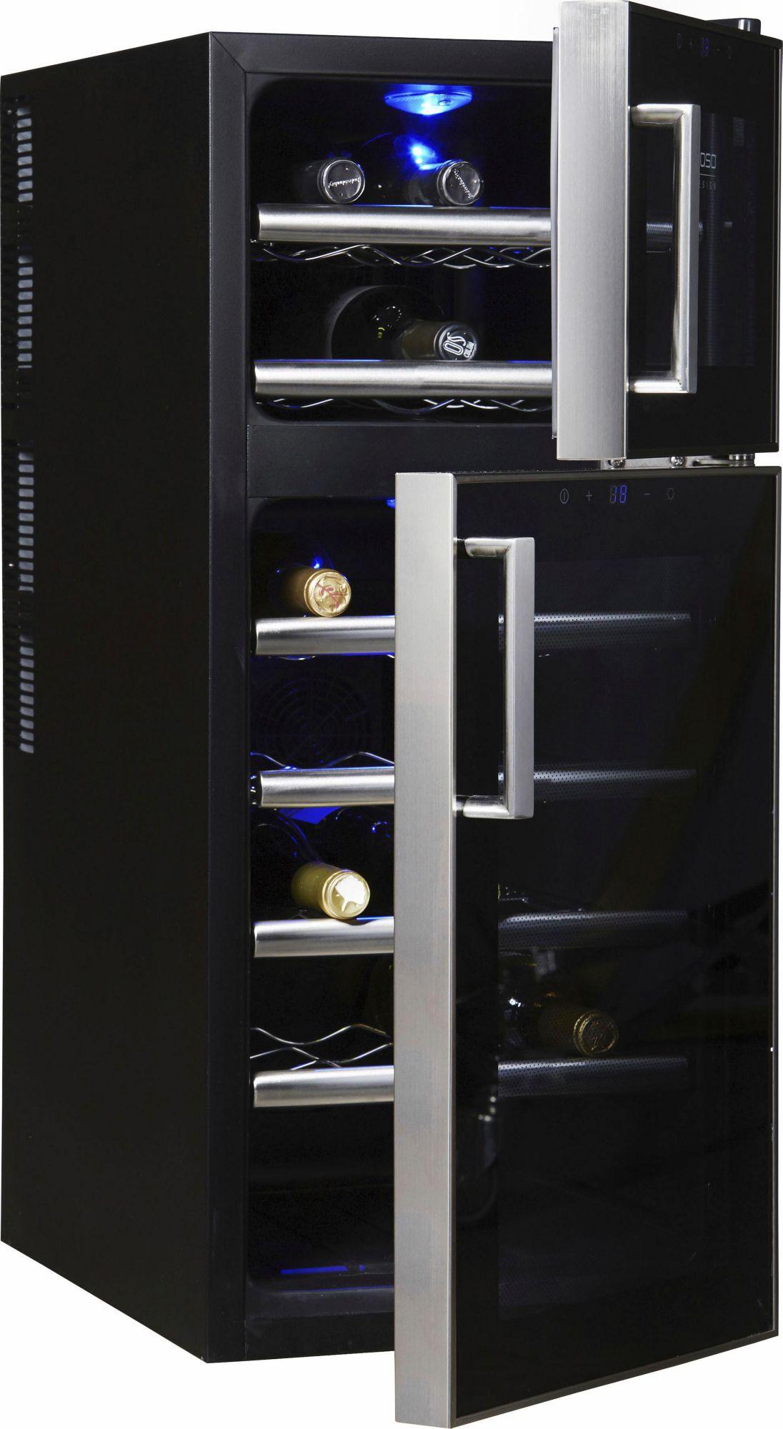 CASO DESIGN CASO Design Weinkühlschrank »WineDuett Touch 21«, Höhe 80,5 cm, für 21 Standardflaschen 0,75l
