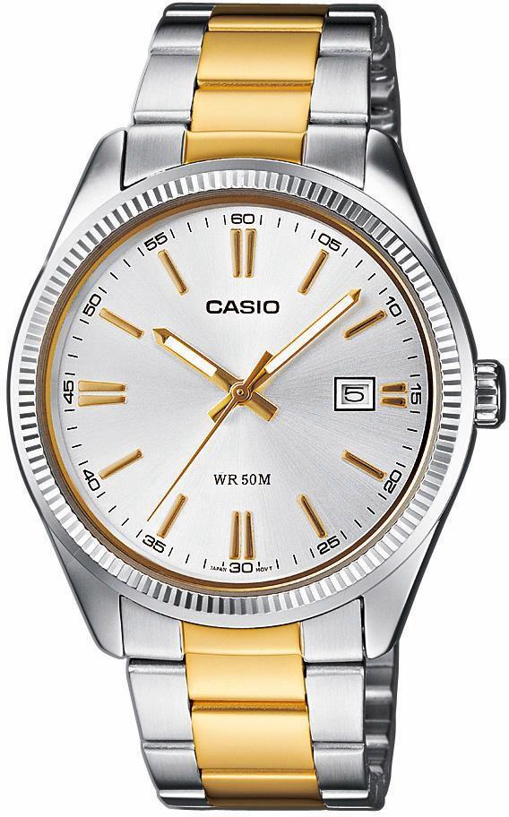 CASIO COLLECTION Bicolor Herrenuhr Casio silber