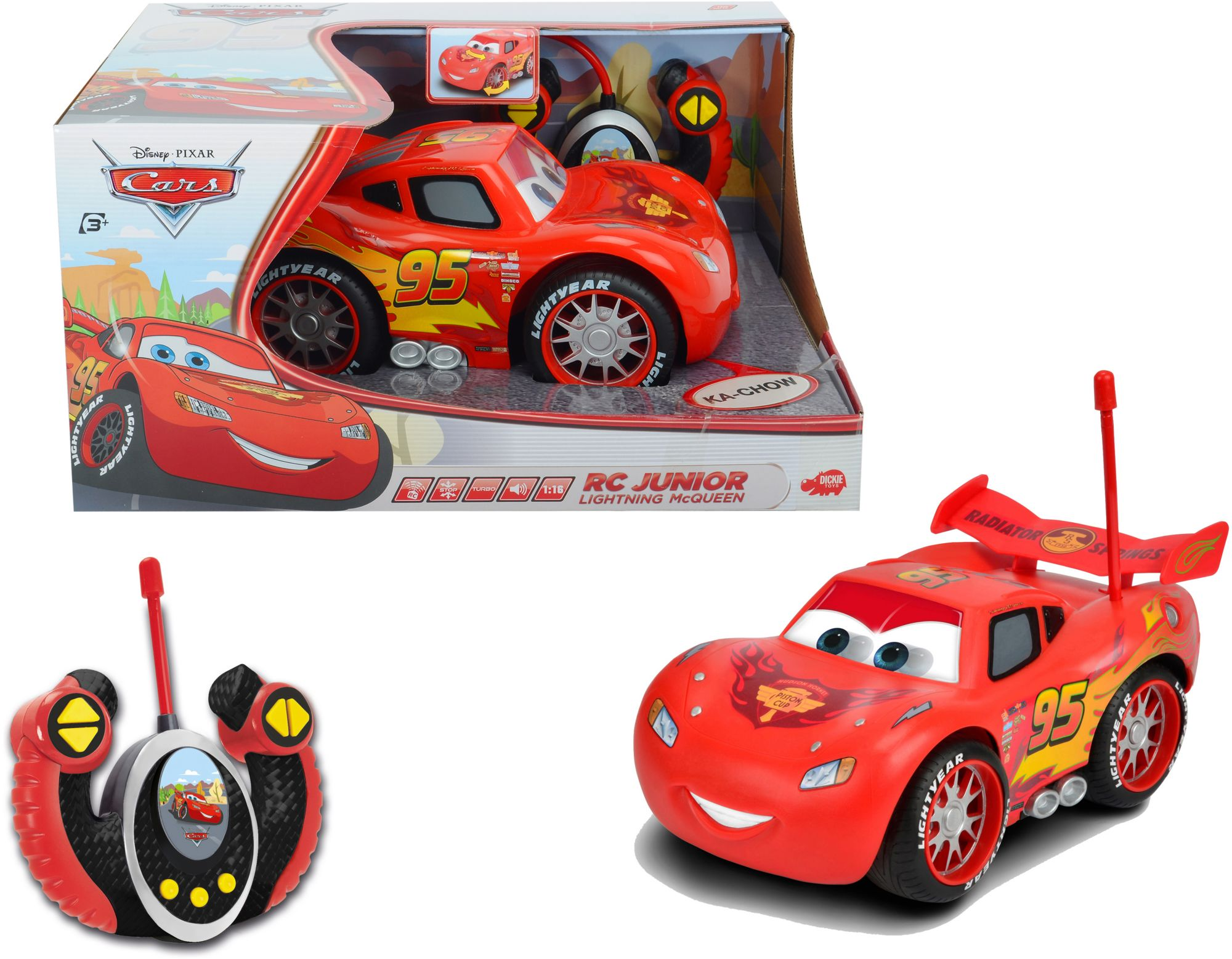 DICKIE TOYS Dickie Toys RC Auto mit Sound, »Cars, Junior Lightning McQueen 27 MHz 1:16«