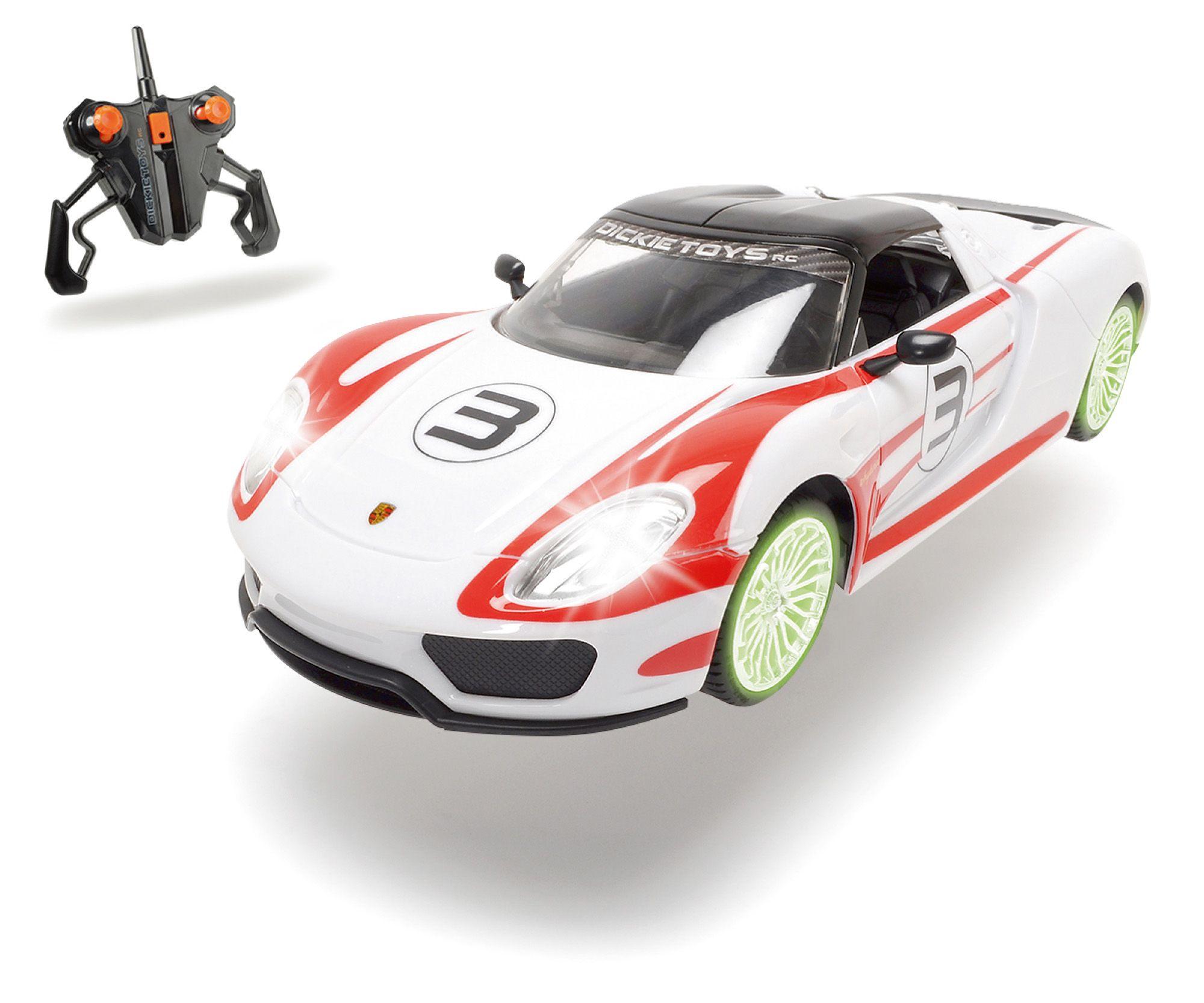 DICKIE TOYS Dickie RC Komplett Set mit Licht und Sound, »Porsche Spyder 2,4 GHz 1:16 weiß/rot«