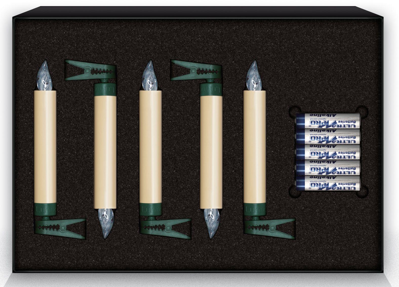 KRINNER Krinner LUMIX Classic LED-Christbaumkerze, 5er Erweiterungs-Set, elfenbein