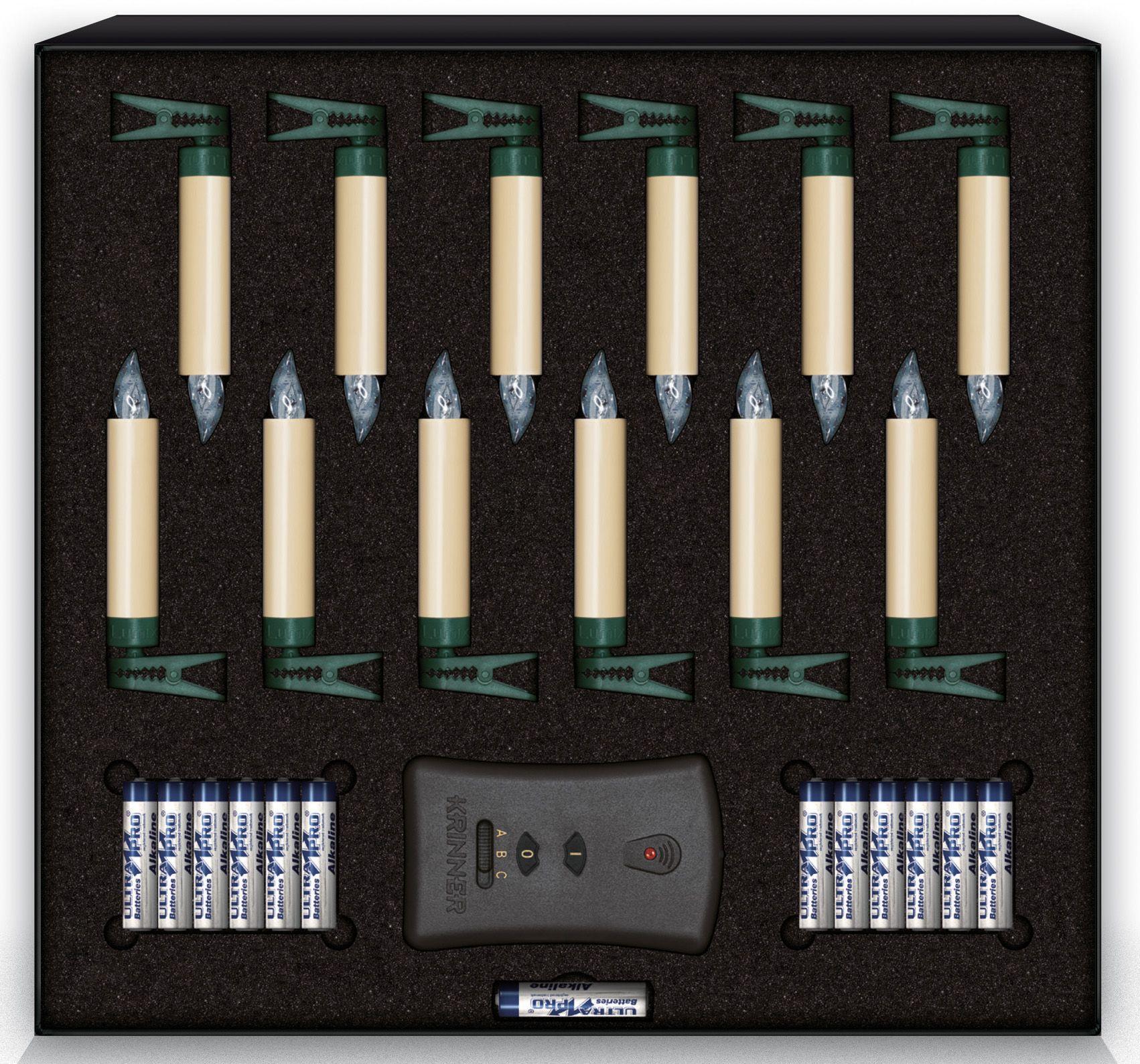 KRINNER Krinner LUMIX LED-Christbaumkerzen Basis-Set, 12 er, »Lumix Classic Mini«