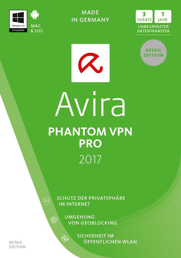 AVIRA Avira Phantom VPN Pro 2017-1 User/3 Geräte