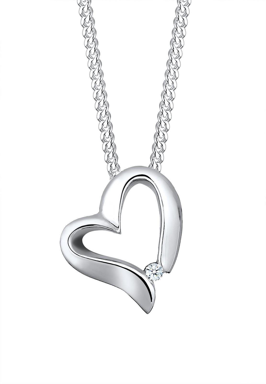 ELLI PREMIUM Elli Premium Kette mit Anhänger »Herz Diamant, 0109340815«