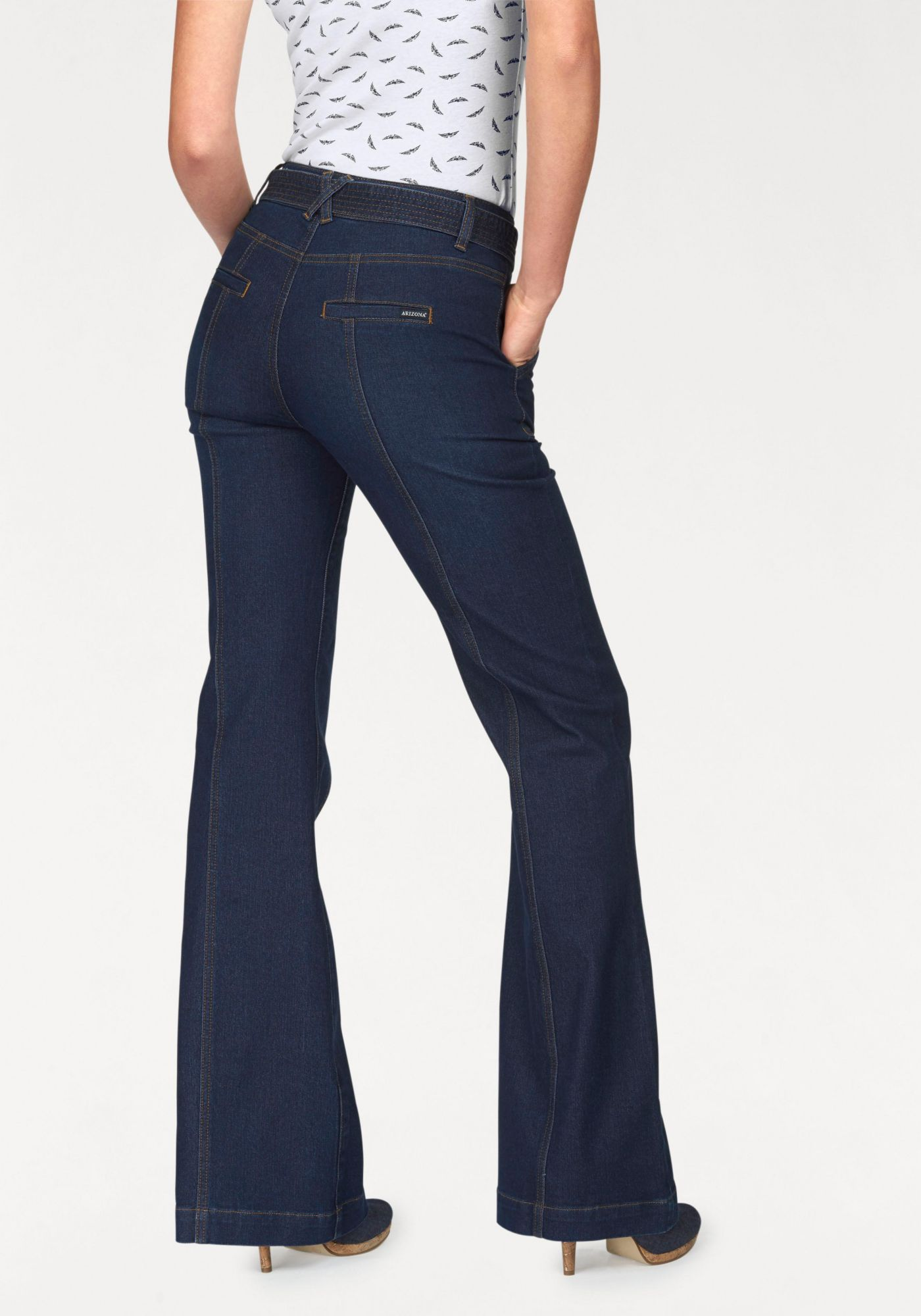 ARIZONA Arizona Bootcut-Jeans »Im Marlenestil mit Gürtel«