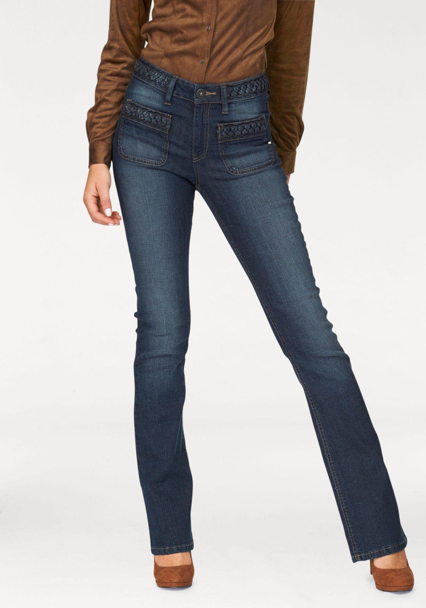 ARIZONA Arizona Bootcut-Jeans »mit Flechtdetails am Bund«