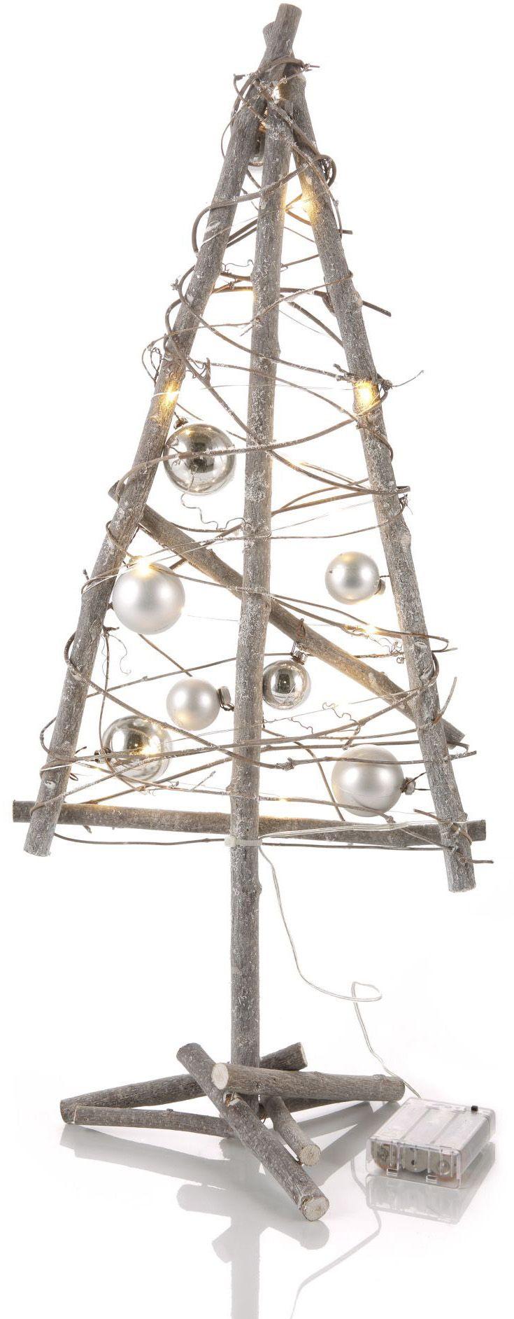 Deko-Baum mit LED Lichterkette und Weihnachtskugeln