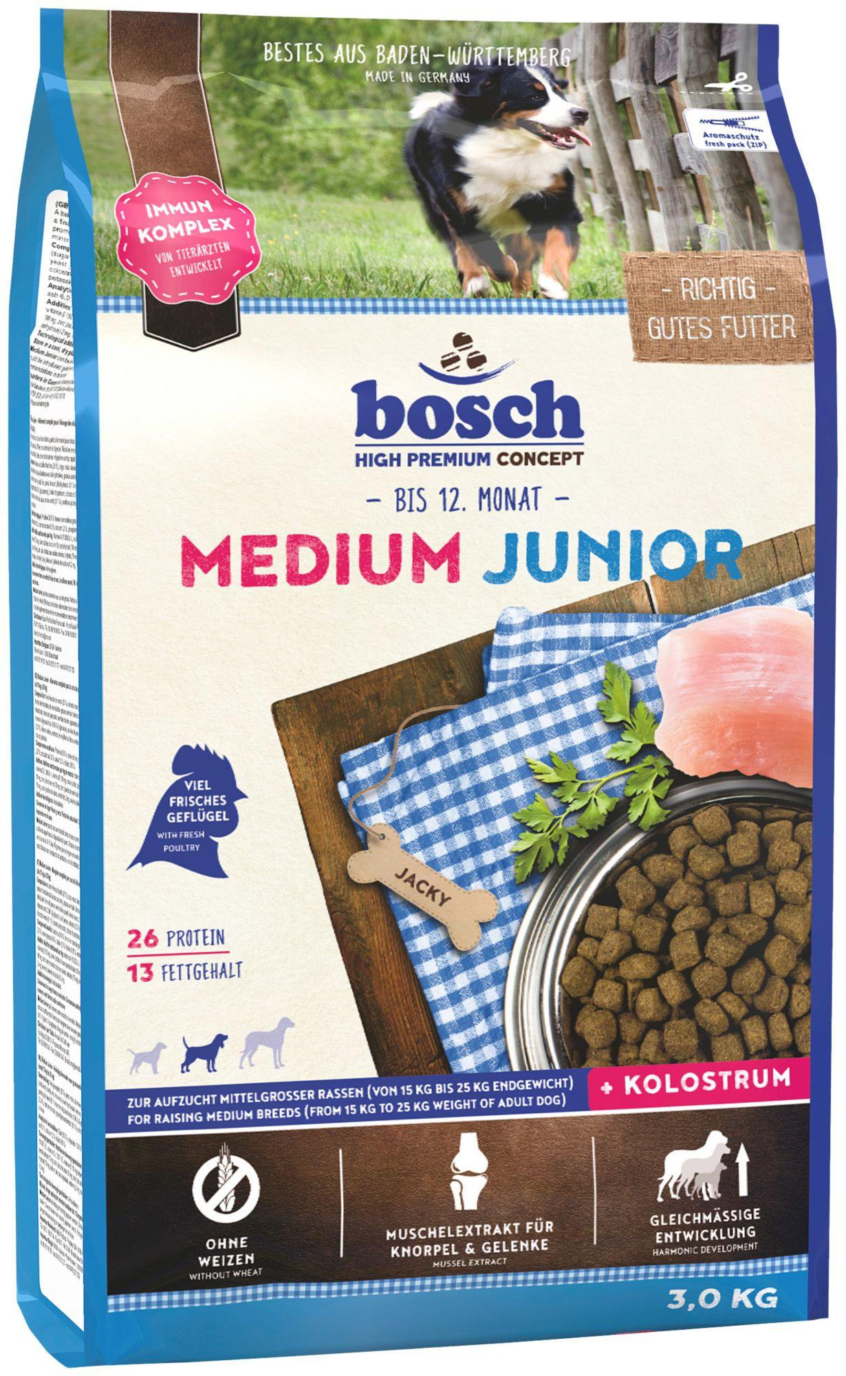 BOSCH PETFOOD Hundetrockenfutter »Medium Junior«, 3 kg