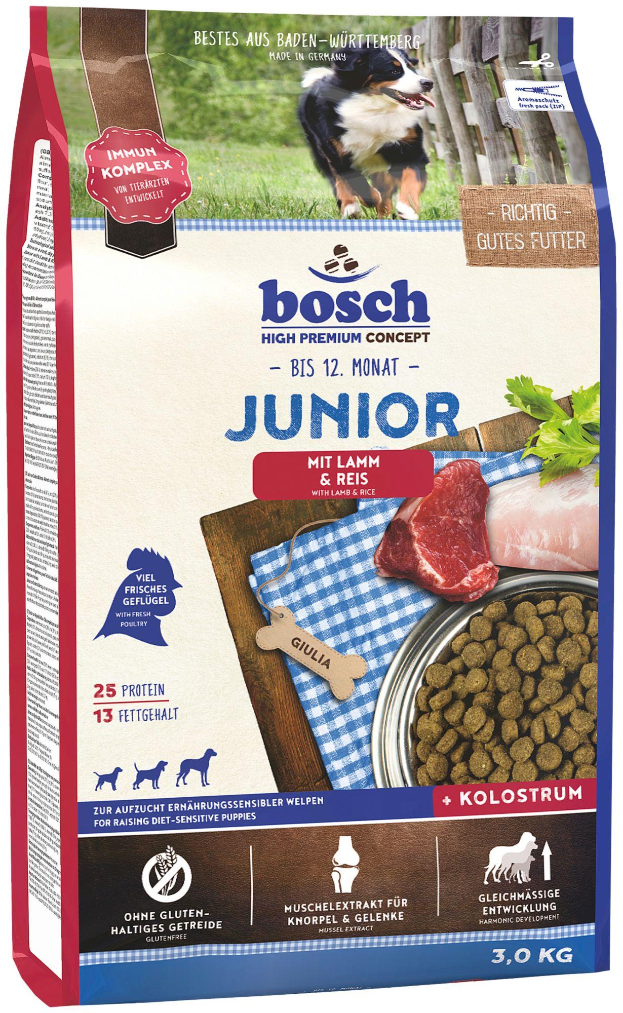 BOSCH PETFOOD Hundetrockenfutter »Junior Lamm & Reis«, 3 kg