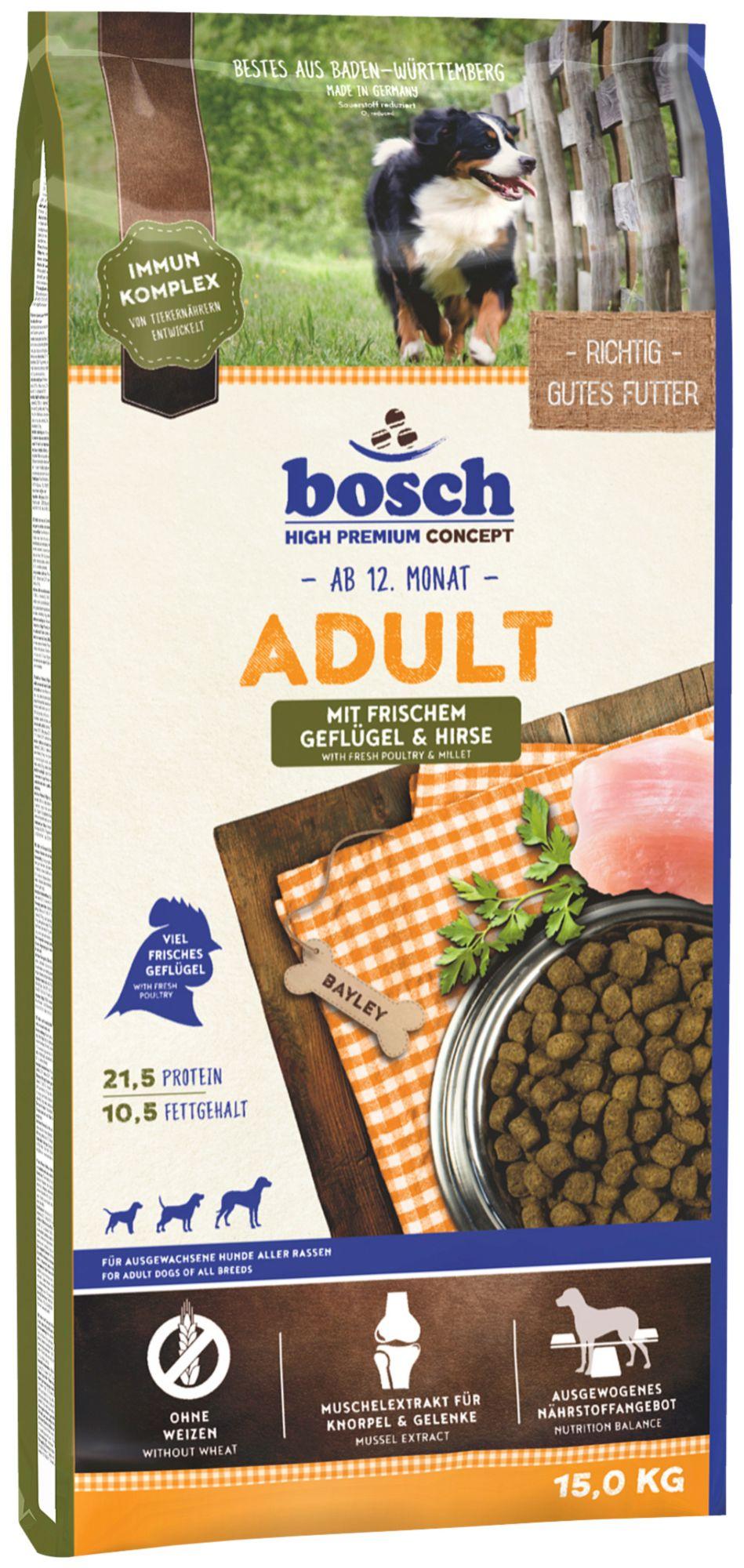 BOSCH PETFOOD Hundetrockenfutter »Adult Geflügel & Hirse«, 15 kg