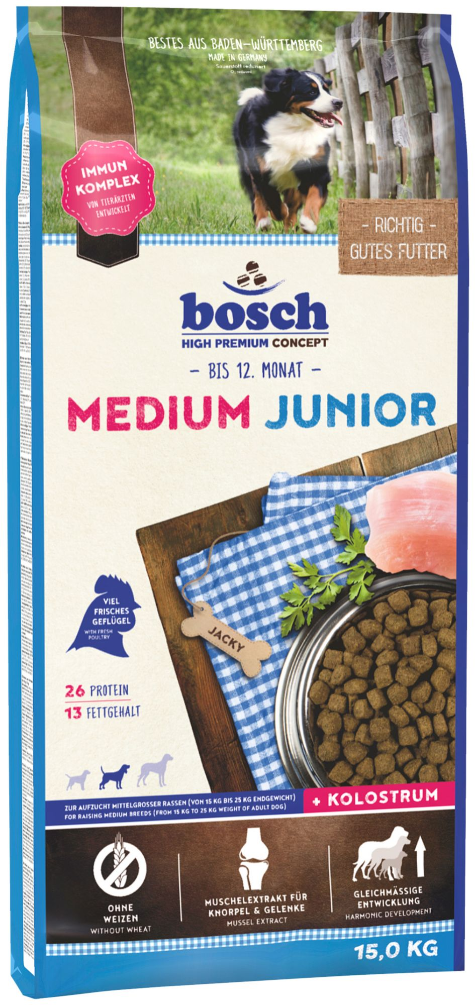 BOSCH PETFOOD Bosch Petfood Hundetrockenfutter »Medium Junior«, 15 kg