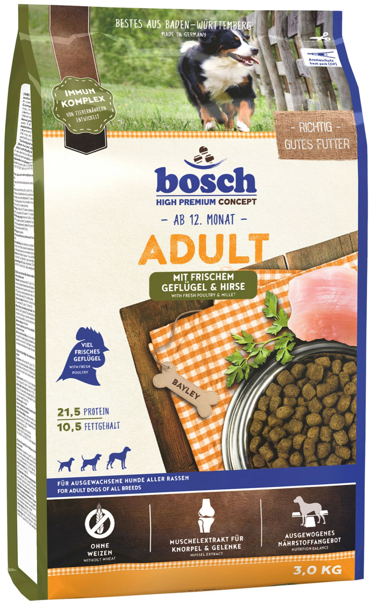 BOSCH PETFOOD Hundetrockenfutter »Adult Geflügel & Hirse«, 3 kg