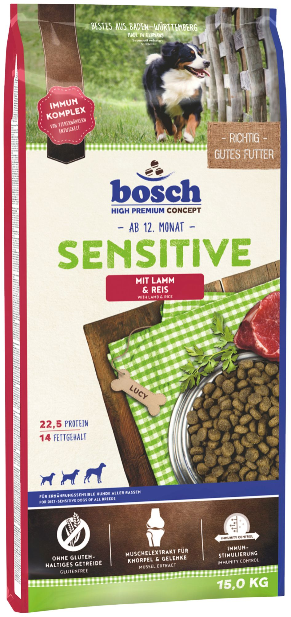 BOSCH PETFOOD Hundetrockenfutter »Sensitive Lamm & Reis«, 15 kg