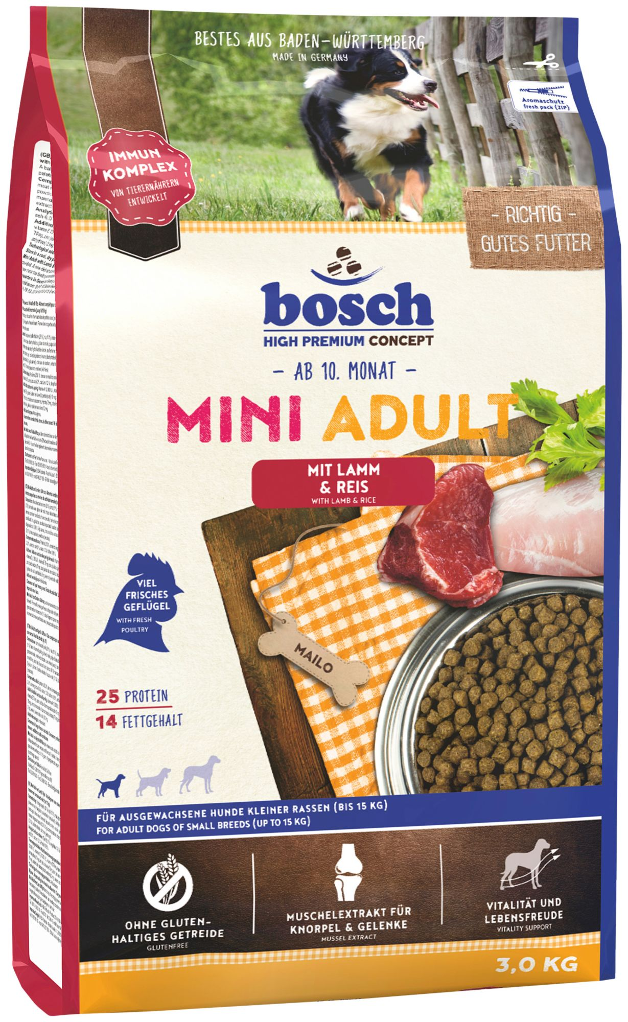 BOSCH PETFOOD Hundetrockenfutter »Mini Adult Lamm & Reis«, 3 kg