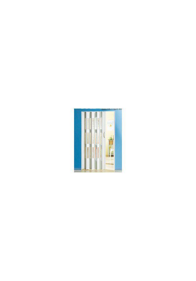 Kunststoff-Falttür , Höhe nach Maß, Weiß mit Fenstern in Riffelstruktur