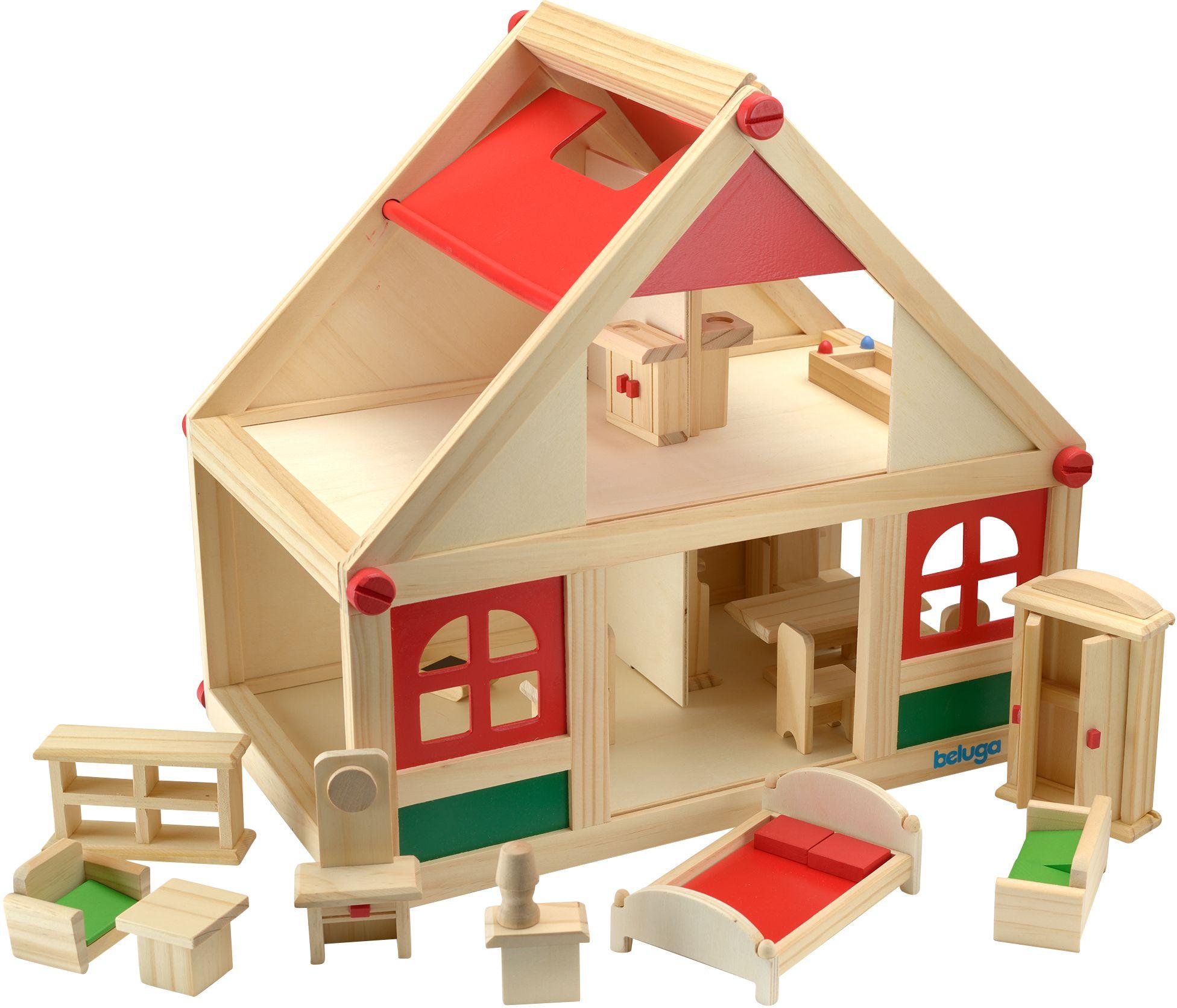 BELUGA Beluga Spielset, »Puppenhaus mit Möbeln«